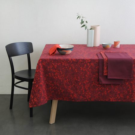 Nappe jacquard Mini Labo rouge made in france