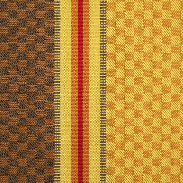 linge basque Ciboulette rayures et carreaux jaune