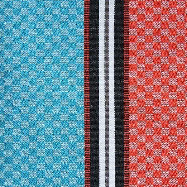 linge basque Ciboulette rayures et carreaux bleu