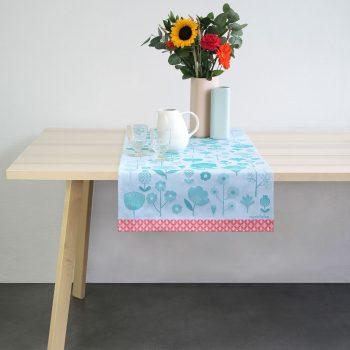 tete a tete ou vis à vis motif végétag d'inspiration nature design mini labo pour tissage moutet tissuer depuis 1919 de linge de table créatif et souriant