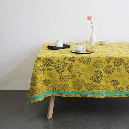 nappe jacquard made in france idee cadeau décoation interieure jaune tendance. Design français réalisé par mini labo à Paris. Fabriqué en France dans le sud ouest, en Béarn, à Orthez.
