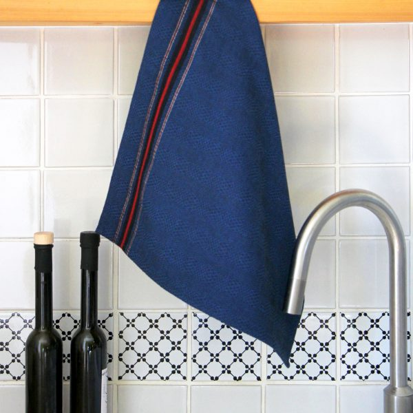 Essuie-mains Tardets bleu, linge de table basque