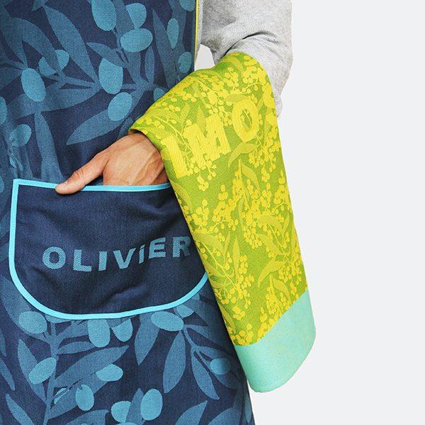 Tablier Olivier et torchon Mimosa, Tissage Moutet