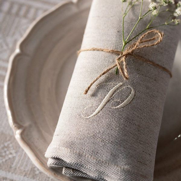 Broderie personnalisée serviette initiales