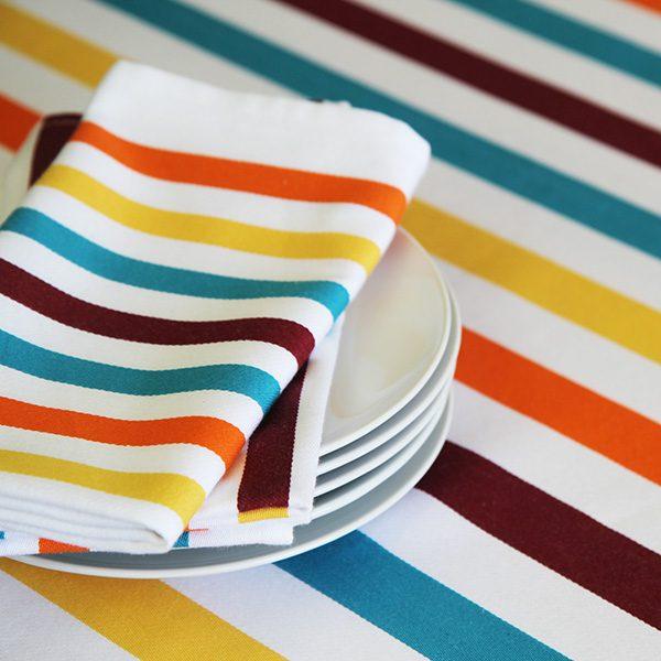 Serviettes de table Banca à rayures, linge basque made in France, Tissage Moutet