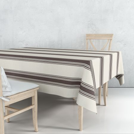 Nappe coutil marron rayures linge basque