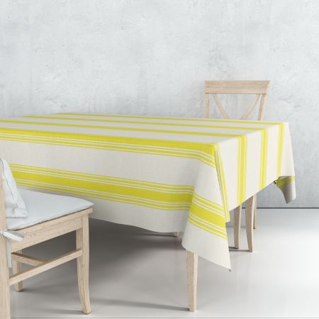 Nappe coutil jaune rayures linge basque