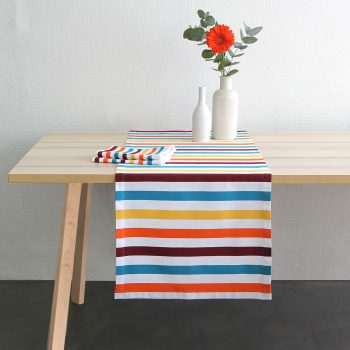 chemin de table linge basque rayures colorees made in france