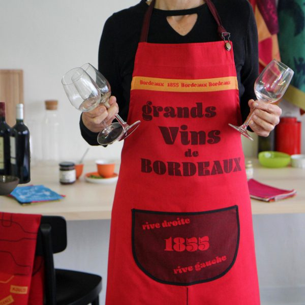 Tablier rouge Made in France vin de Bordeaux