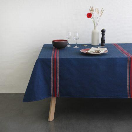 Nappe Tardets bleu rouge Linge basque Tissage Moutet
