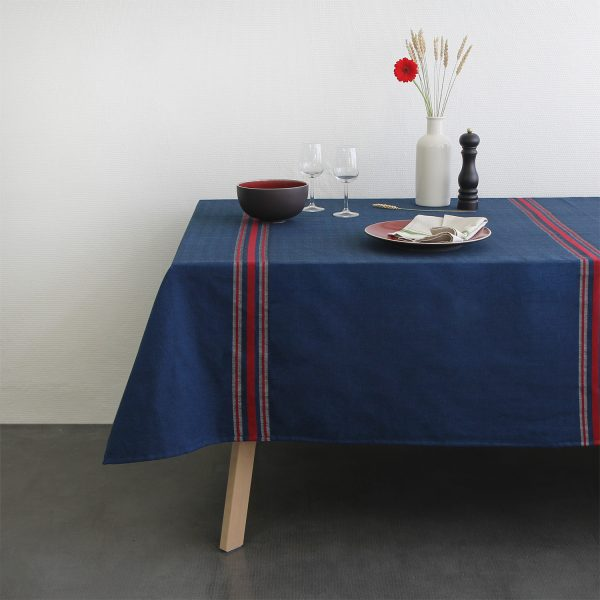 Nappe Tardets bleu rouge Linge basque Tissage Moutet