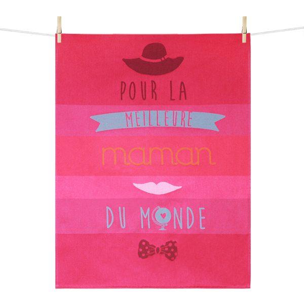 Torchon jacquard rose Meilleure Maman du Monde made in France